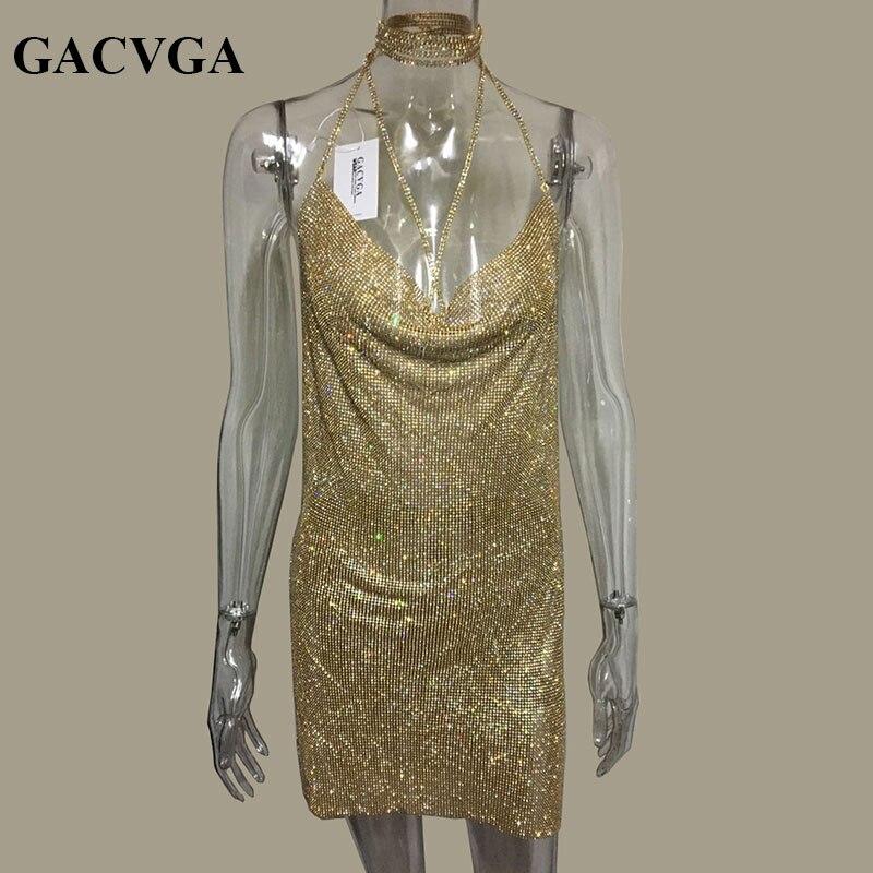 GACVGA 2019 Kristal Metal Halter Parlayan Yay Don Qadın Çimərlik - Qadın geyimi - Fotoqrafiya 4