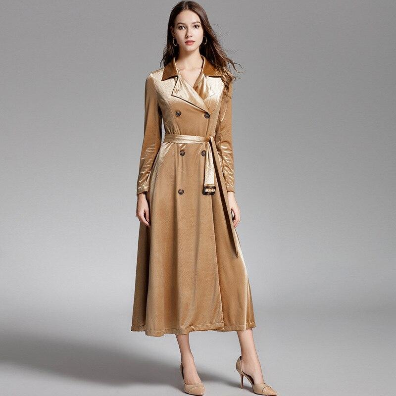 Boutonnage Longue Pleuche Femelle Mince Femme Or 2018 Pour Manteau Double Tranchée Velours Classique Coupe Femmes vent BqYAwTB