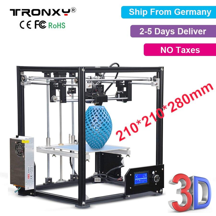 Tronxy 3D Printer X5 Full Quality High Precision Aluminum Desktop Printer 3D kit Fully Assembled Large 3D Printing 210*210*280mm upgarded aluminium cube 3d printer kits bapasco x5 full metal extrusion high precision 12864p lcd big printing size 210 210 280