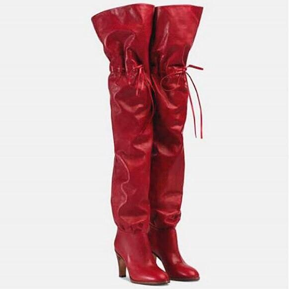 as Altos Tacones Rodilla Cuero Elástica As Pic Pus Banda Zapatos Cordones Para La Tendencia Largas Con De Mujer Botas Gruesos Tamaño Sobre Pic nxSF1qY