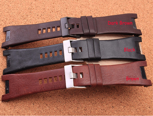 2016 NEW Arrivals  32*17mm black brown with steel clasp genuine leather watchband strap Dedicated men fit Diesel DZ4246 DZ1273b