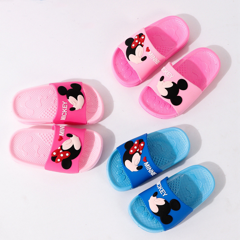 2019 Baby Girls Boys Slippers Children Pvc Rubber Cartoon Mickey Kids Home Sandal Shower Shoes Little Girl Boy House Shoes