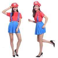 The new female adult Halloween party dance cute Mario Super Mario Louis strap dress adult cosplay