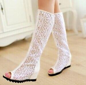Malla Verano Alto Tacón Cuñas Botas Primavera Femeninos Apricot Y Otoño Blanco Zapatos blanco 2015 negro Recorte Cordón De pqY4q