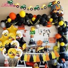 Ballons gonflables pour thème de tracteur de Construction pelle, bannières de véhicule, fournitures pour fête prénatale anniversaire denfants garçons