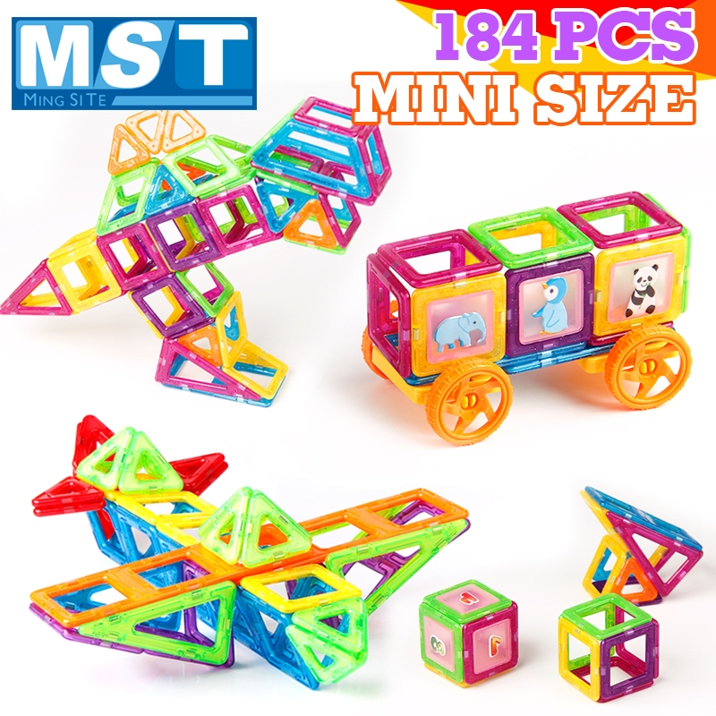 184 pièces Mini blocs de Construction magnétiques bricolage en plastique bloc magnétique ensemble de Construction modèles d'aimant jouets éducatifs pour enfants cadeau