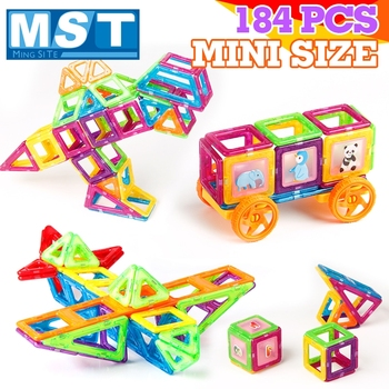 184PCS Mini Magnetic Designer Building Blocks DIY Magnetic Block Construction Set Magnet Model Building Toys Kids Game Gift