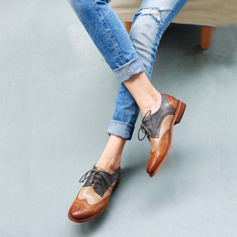 Yinzo kobiety mieszkania Oxford buty kobieta oryginalne skórzane buty sportowe damskie Brogues w stylu Vintage buty w stylu casual buty dla obuwie damskie w Damskie buty typu flats od Buty na  Grupa 1