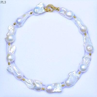 Femmes argent véritable perle naturelle élégant naturel surdimensionné baroque collier de perles un extra-large perle chaîne cadeau femme