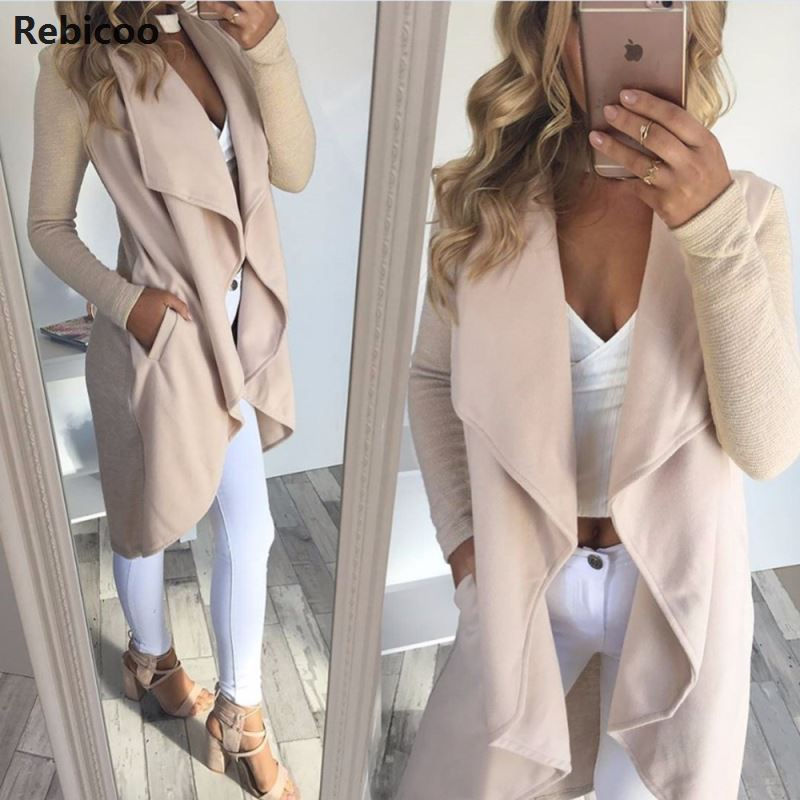 New 2019 Autumn Winter Women Elegant Waterfall Cardigan Ladies Long Sleeve Jumper Open Cardi Top Jacket Coat Womens Cardigans