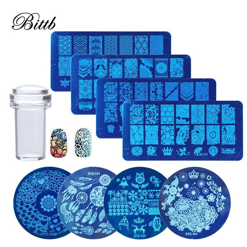 Stamper Plates Stencil Flower Nail-Art Animal-Pattern Design Kits Bittb Beauty-Tool-Kits