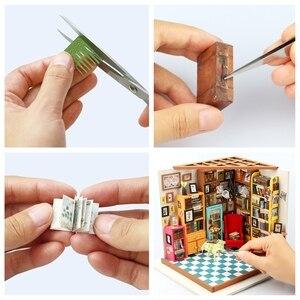 Image 4 - Robotime لتقوم بها بنفسك دمية سام غرفة الدراسة الخشب مصغرة نموذج مجموعات الديكور هدية عيد ميلاد للفتيات