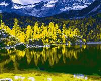 MaHuaf J077 Mountian River Forest DIY Oil Painting By Numbers Hand Painted Acrylic Picture Coloring By