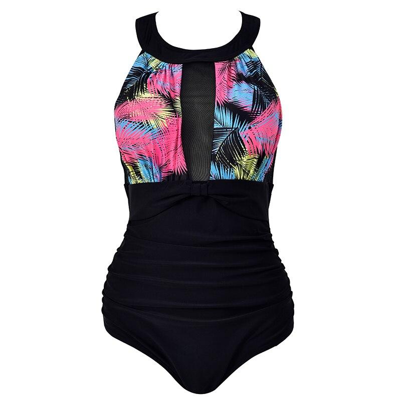 Ruffle One Piece Swimsuit Women Cover Belly Swimwear Slimming Retro Bodysuit Bathing Suits Monokini Plus Size 4XL Drop Shipping
