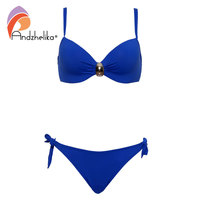 Andzhelika Plus Size Swimwear Bikinis Women Soft Cup Button Accessories Halter Bathing Suit Solid Swimsuit Summer