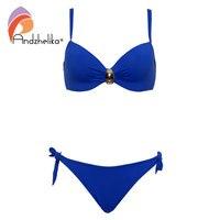 Andzhelika Plus Size Swimwear Biquínis Mulheres Macio Copa acessórios Botão Halter Maiô Sólidos Swimsuit Summer Beach Party