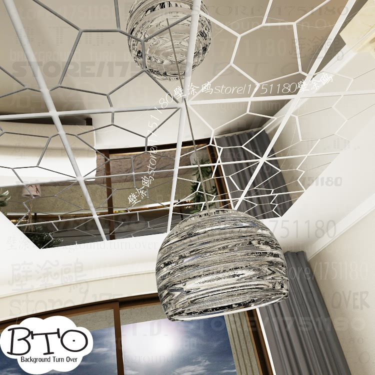 Hot selling crystal shape abstract 3d spiegel muurstickers slaapkamer woonkamer sofa muurtattoo interieur kapsalon decor R238 - 4