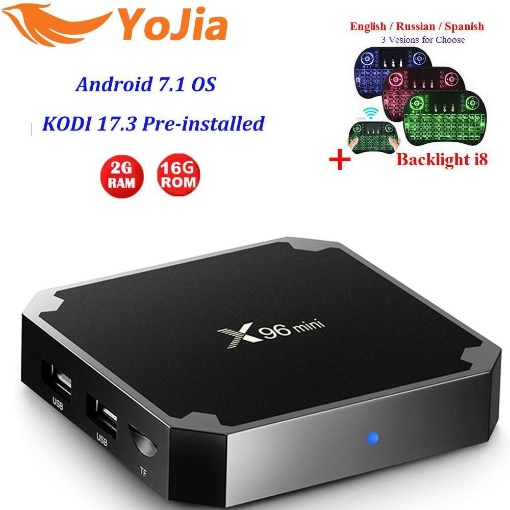 Yojia 2GB16GB Amlogic S905W X96 mini Android 7.1 TV BOX 1G8G Quad Core 4 K 2.4 GHz WiFi X96mini Smart X96 Media lettore