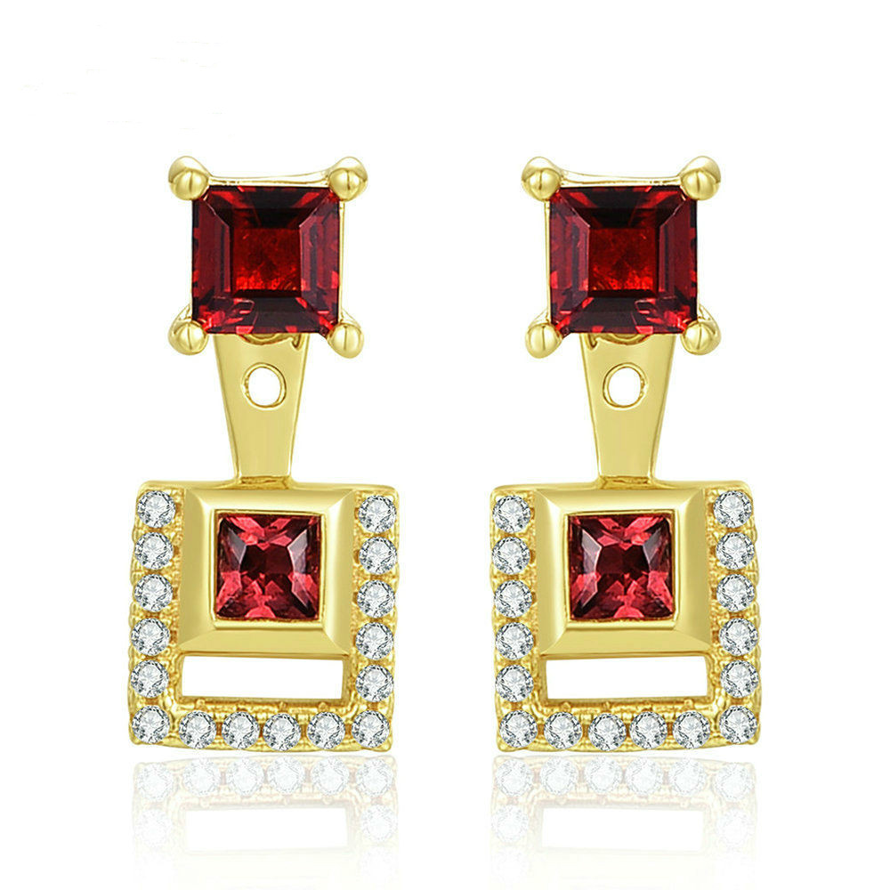 S925 Pure Silver Coloured Treasure Jewelry Products Use Natural Garnet 14K Gold Ear Drop Ear Nails