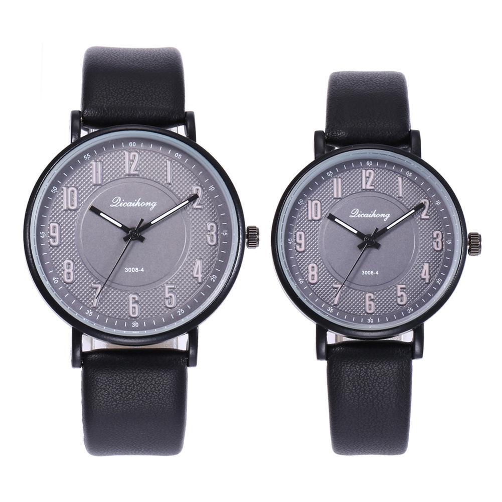Unisex Round Dial Arabic Numbers Quartz Analog Wrist Watch Couple Gift Reloj Mujer Watch Couple Arabic Numerals On Faux Leather