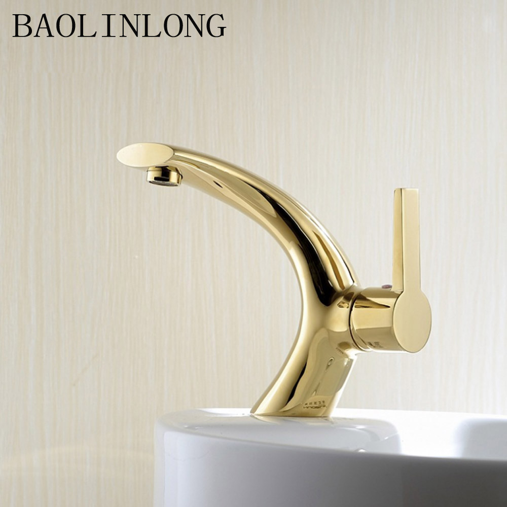 Gold Brass Bathroom Faucets Vanity Vessel Sinks Water Crane Bath Mixer Basin Faucet Tap in Basin Faucets from Home Improvement
