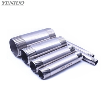 """Water Connection 1/8"""" 1/4"""" 3/8"""" 1/2"""" 3/4"""" 1"""" 1-1/4"""" 1-1/2"""" Male X Male Threaded Pipe Fittings Stainless Steel SS304 100mm Length"""