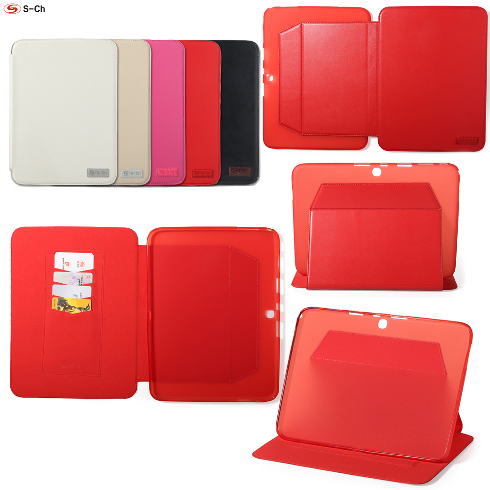 S-CH Flip Cover For Samsung Galaxy Tab 3 10.1 polegada P5200 PU Leather TPU Case Soft Luxury Faux High Quality стоимость