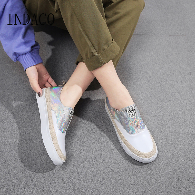 2019 Spring New Leather White Flat Casual Shoes Fashion Sneakers Women Loafers Slip on 3cm