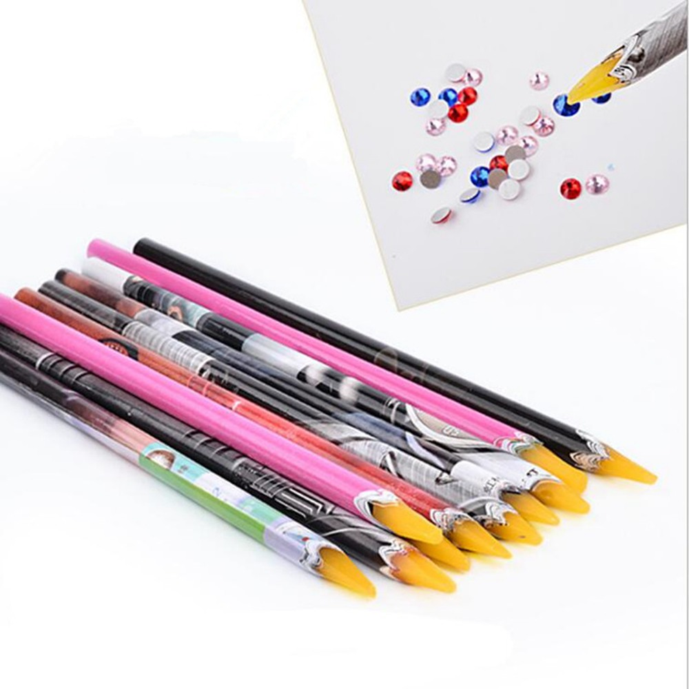 1pc 10cm Wax Dotting Pen Pencil Nail Art Tools Self-adhesive Rhinestones Gems Drilling Picking Picker Tips Tools Random Color