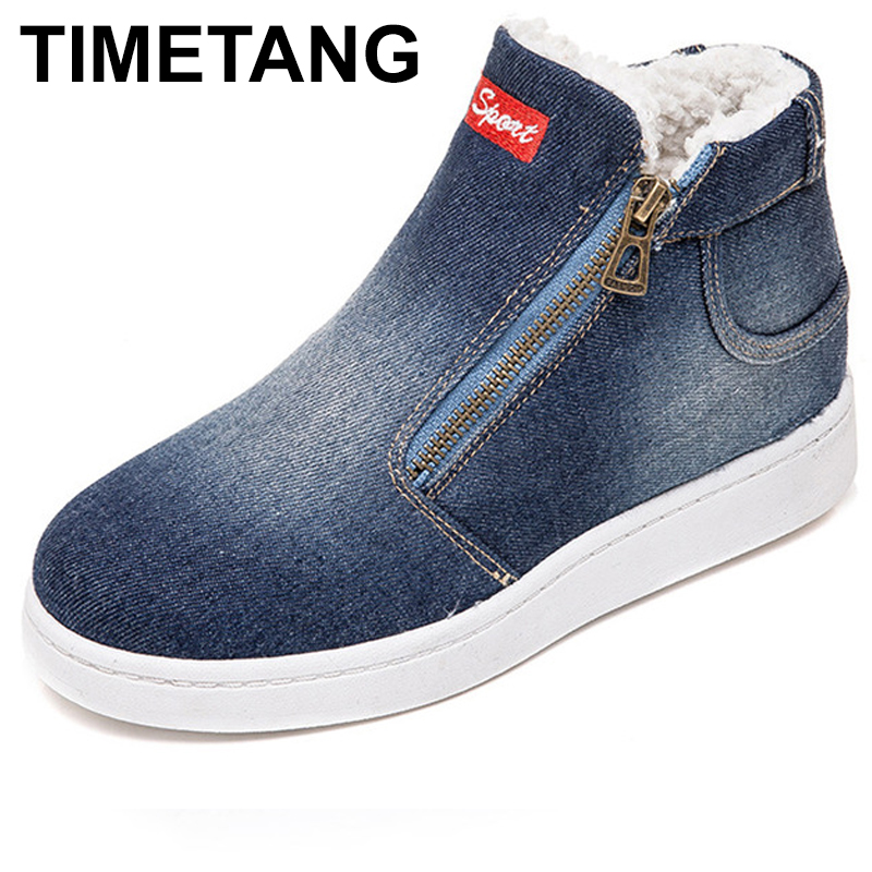 TIMETANG Fleece Push Warm Winter Shoes Women Denim Jeans Boots Snow Boots Classic High Top Round Toe Flat Casual Shoes E228TIMETANG Fleece Push Warm Winter Shoes Women Denim Jeans Boots Snow Boots Classic High Top Round Toe Flat Casual Shoes E228