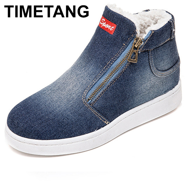 TIMETANG Fleece Push Warm Winter Shoes Women Denim Jeans Boots Snow Boots Classic High Top Round Toe Flat Casual Shoes E228