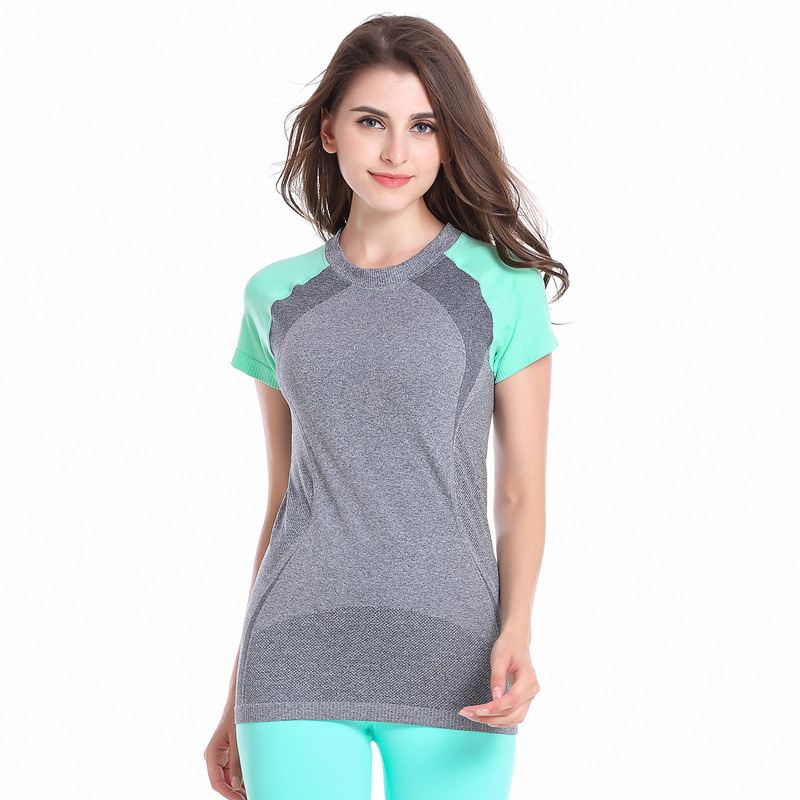 Lovely Women Fitness Sports Breathable Tops Jogging Gym Tshirt Female Yoga Run Running Bodybuilding T-shirt HSWA11