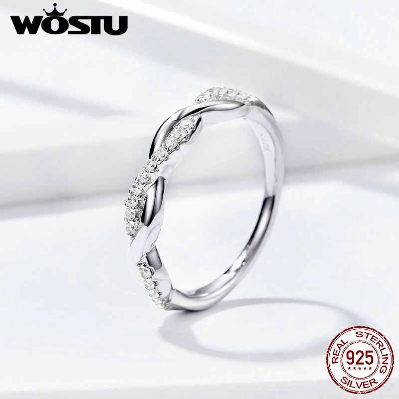 WOSTU Twisted Line WAVE แหวน 925 เงินสเตอร์ลิงแหวนเรขาคณิต CLEAR CZ สำหรับผู้หญิงคลาสสิกออกแบบเครื่องประดับ FIR511