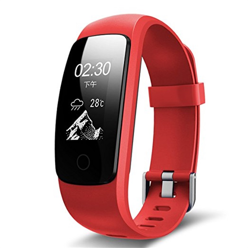 Date Multifonctionnel Coeur Taux Smart Bracelet Léger Bluetooth Écran OLED Montres Podomètre Fitness de Suivi Montre