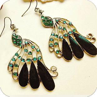 Long Vintage Peacock Earrings