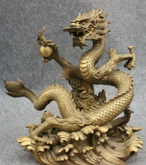 008676 13 Folk Chinese Pure Brass Decorate Year Zodiac Fly Dragon Play Ball Statue008676 13 Folk Chinese Pure Brass Decorate Year Zodiac Fly Dragon Play Ball Statue
