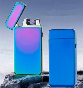 Image 1 - USB Electric Dual Arc Torch Lighter Rechargeable Windproof Plasma Lighter Cigarette Double Thunder Pulse Cross Lighter