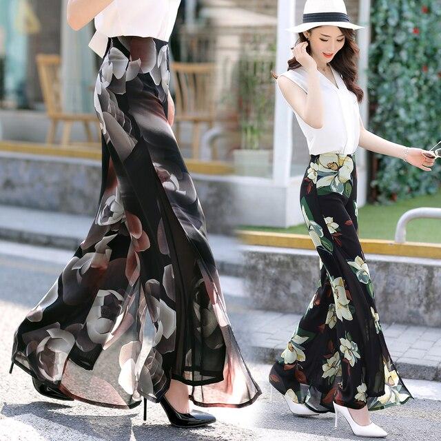 0c3d1c5c223f9 Women printing Vintage Loose High Waist Long Trousers Chiffon Side Split  Casual Palazzo Pants Wide Leg Pants pantalones