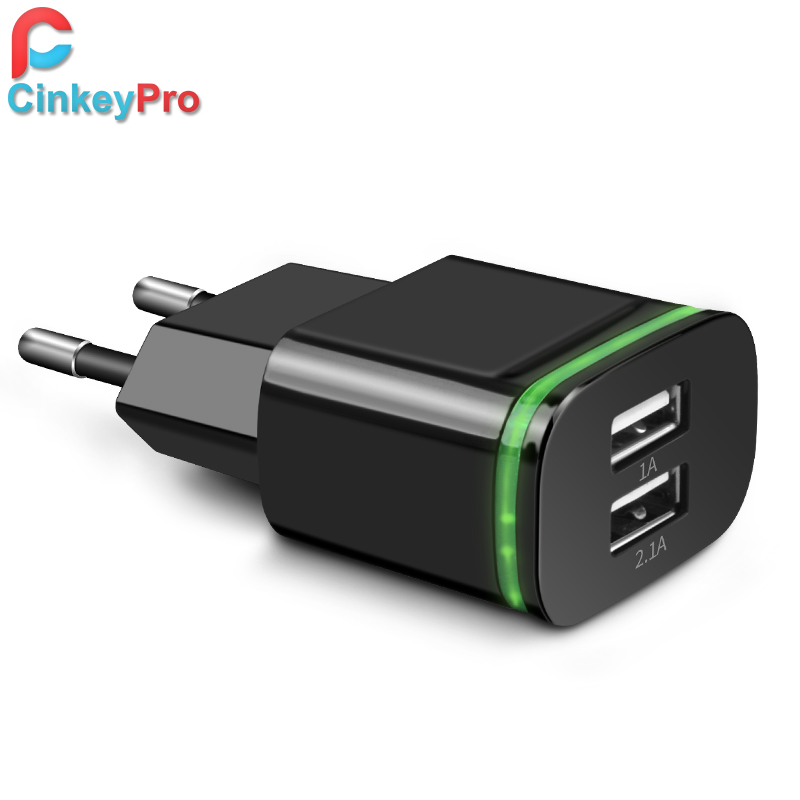 CinkeyPro EU Plug 2 Ports LED Light  USB Charger 5V 2A Wall Adapter Mobile Phone Micro Data Charging For iPhone iPad Samsung