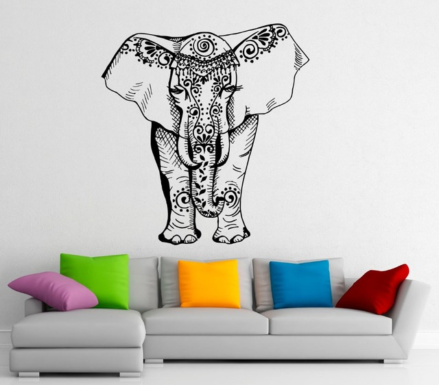 India Buddha Elephant Wall Decal Mandala Elephant Symbol Ornament