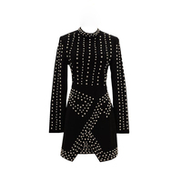 Newest Fashion 2017 Designer Runway Dress Women S Long Sleeve Charming Printed Color Block Mid Calf