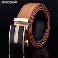 [Batoorap] 2017 caliente de la nueva correa de cuero genuina de los hombres cinturones de diseño hombres de alta calidad de lujo cinturón de orange cinturones casuales de color