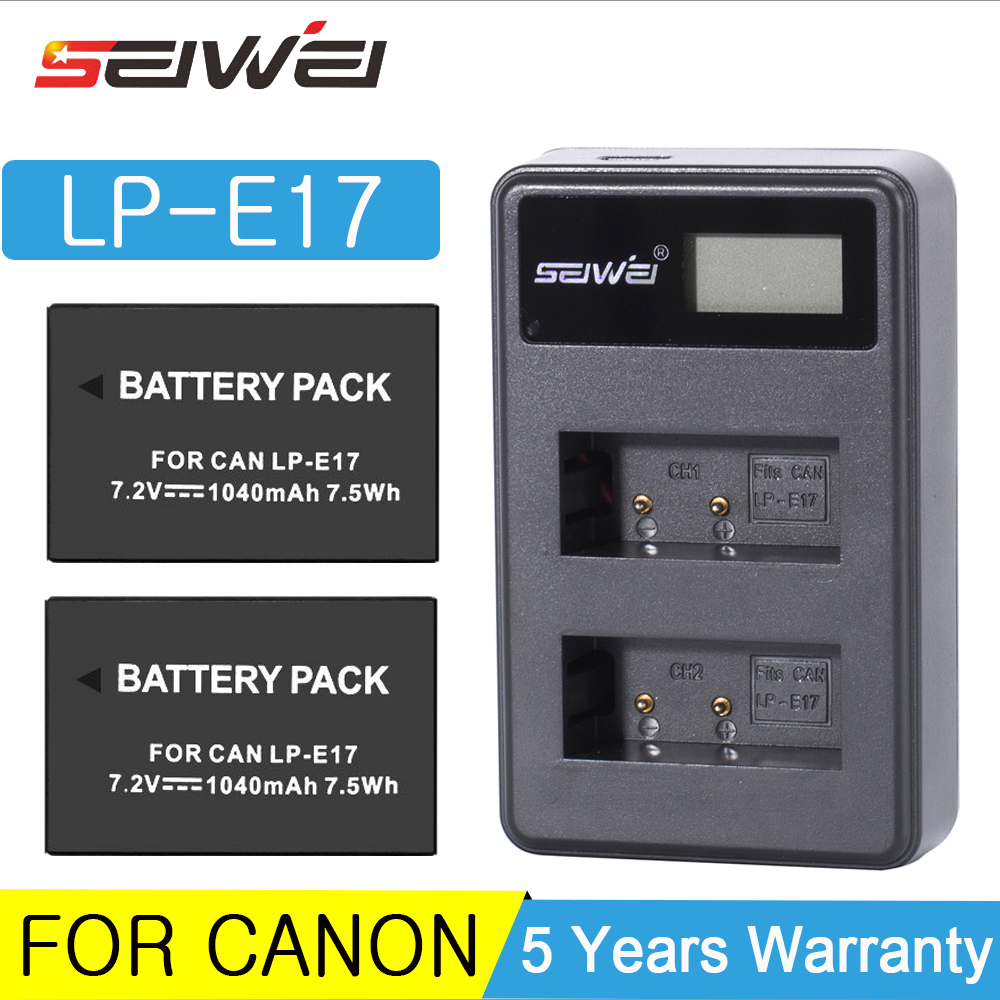1040 mAh LPE17 LP-E17 LP E17 batterie d'appareil photo numérique + chargeur USB pour Canon EOS M3 M5 M6 rebelle T6i T7i EOS 77D 750D ensemble de Batteries