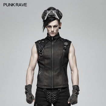 PUNK RAVE Punk Men Handsome Vest Fashion Gothic Club Party Pu Leather Waistcoat Steampunk Personality Men's Military T-shirt