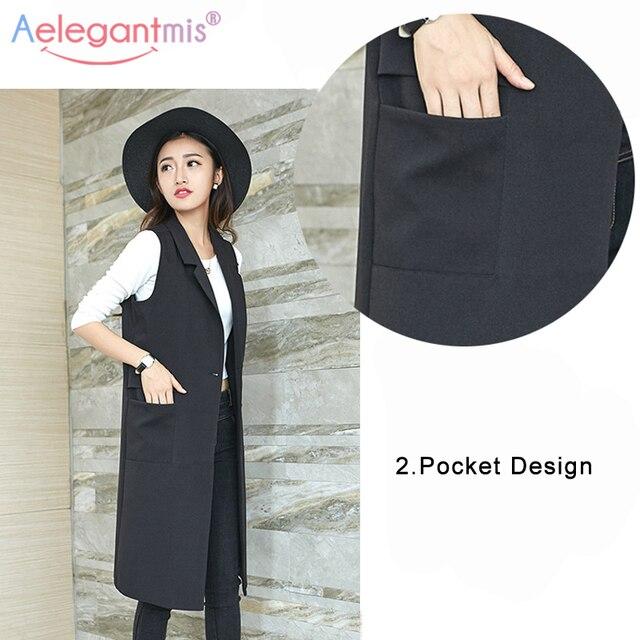 Aelegantmis Fashion Pockets Long Blazer Vest Women Autumn Waistcoat Turn-down Collar Sleeveless Jacket Elegant Office Lady Coat 5