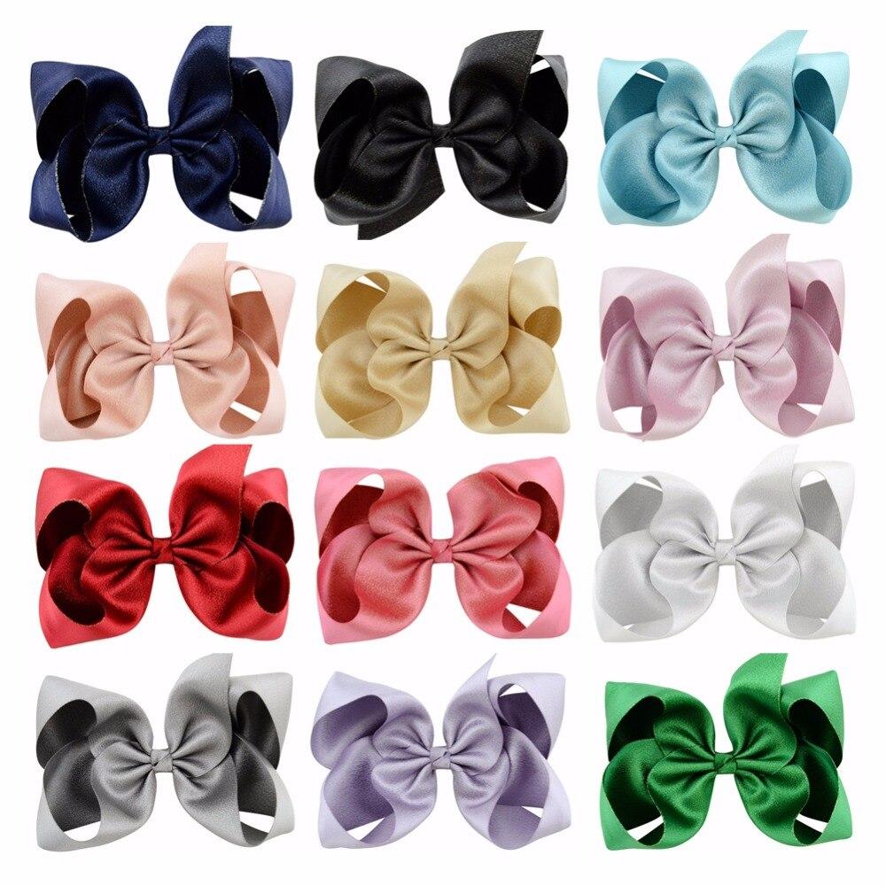 LOT 12PCS Baby Girls Toddler Hair Ribbon Bows Alligator Hair Clips Bow Hairpins