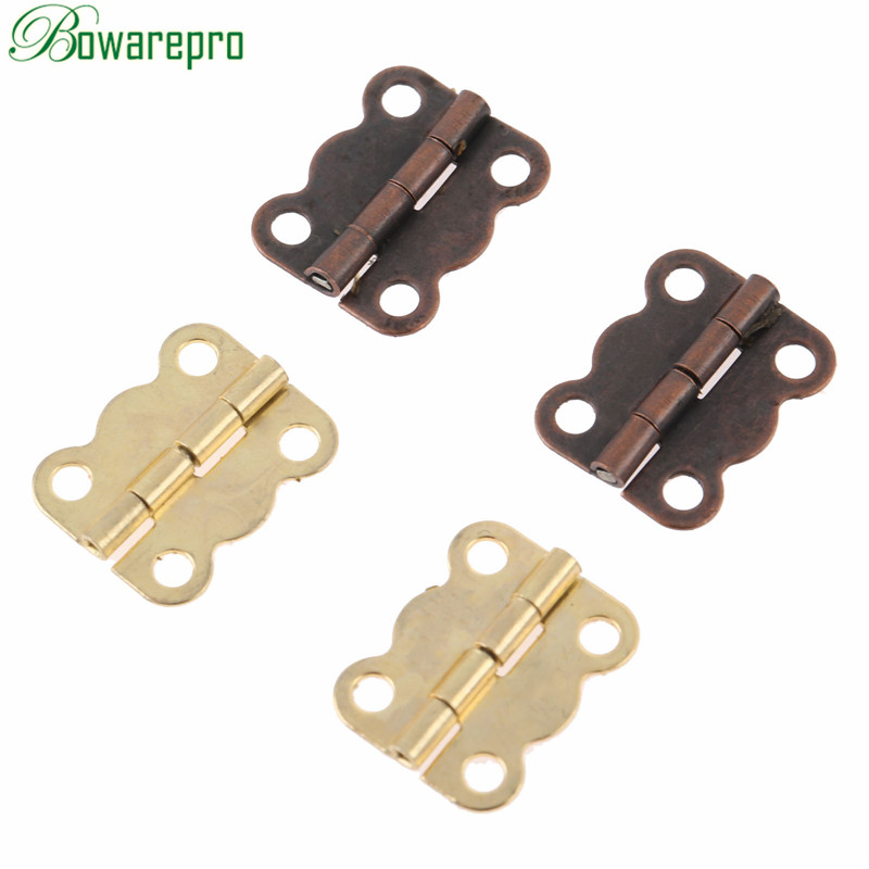 Bowarepro 10Pcs 16*13mm Antique Cabinet Hinges Furniture Accessories Jewelry Boxes Small Hinge Furniture Fittings For Cupboard