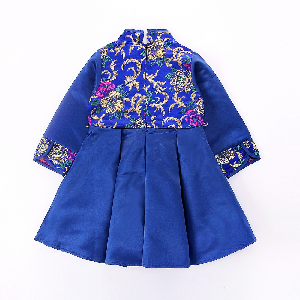 2018 Happy New Year Autumn Girls Long Sleeve Blue Embroidered Dress Chinese Knot Style Boy Top Pant Set Kids Party Clothes 18M06