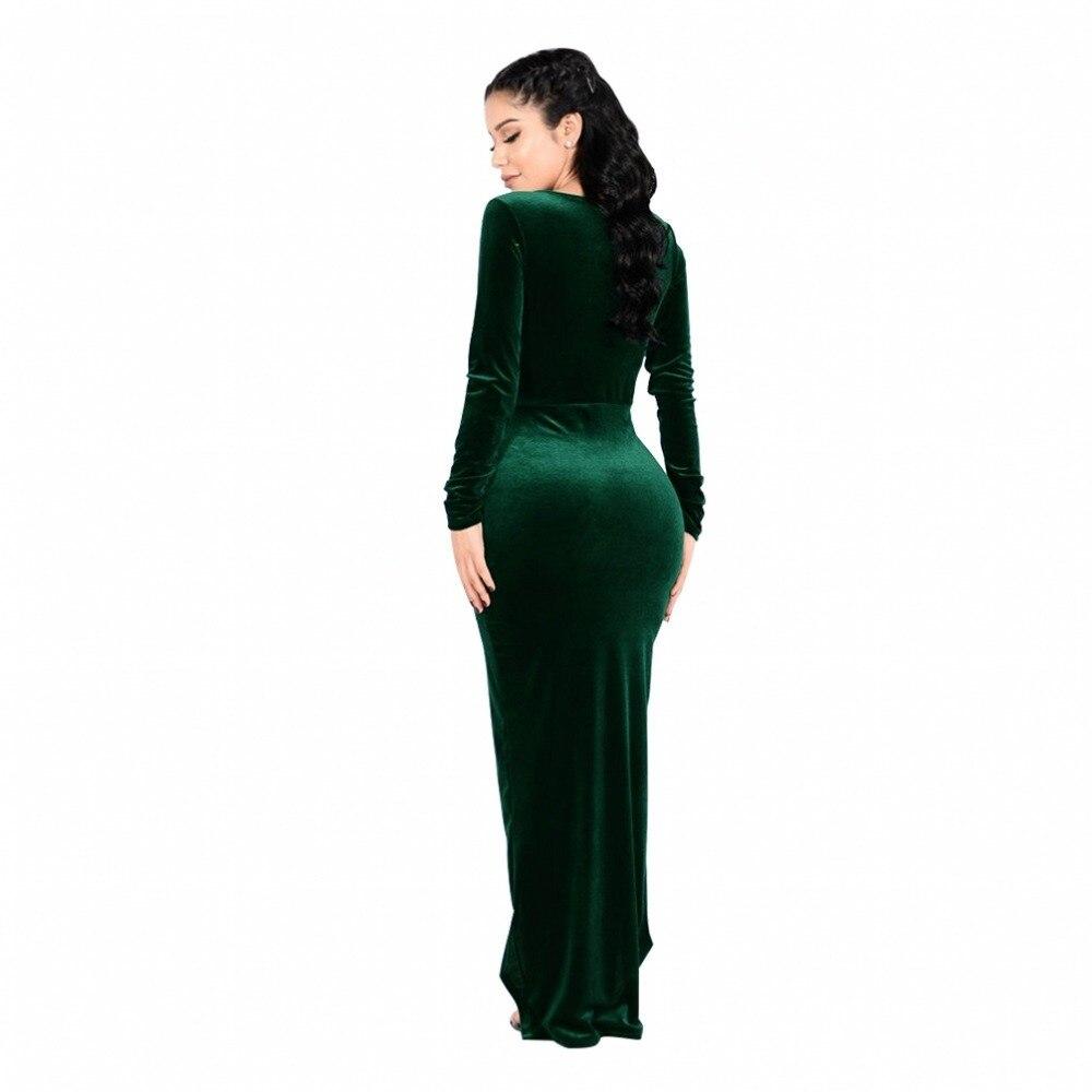 0f6f71dc69 Sólido Manga De Color Delgado Gray Larga wine La Green Vestidos dark Largo  Navidad Alto Cintura V navy cuello Mujer Vestido Slit Maxi Fd7052 Terciopelo  ...