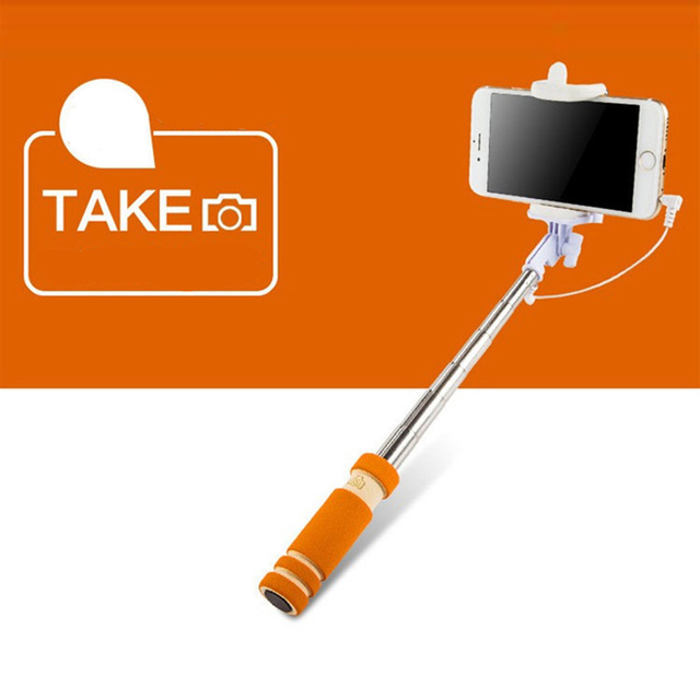 2017 New Handheld Wired 60mm Selfie Stick Accessory for iPhone Extendable Monopod Self Camera for samsung iphone Xiaomi shutter